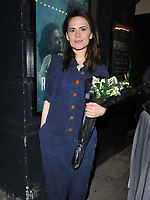 "Hayley Atwell at the ""Rosmersholm"" theatre cast stage door departures, Duke of York's Theatre, St Martin's Lane, London, England, UK, on Wednesday 15th May 2019.<br /> CAP/CAN<br /> ©CAN/Capital Pictures"