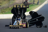 Jul, 21, 2012; Morrison, CO, USA: NHRA top fuel dragster driver Khalid Albalooshi during qualifying for the Mile High Nationals at Bandimere Speedway. Mandatory Credit: Mark J. Rebilas-US PRESSWIRE