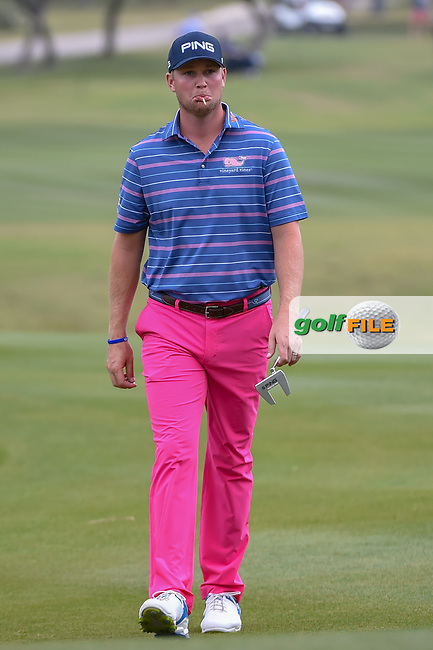 Trey Mullinax (USA) approaches the 18th green during Round 3 of the Valero Texas Open, AT&T Oaks Course, TPC San Antonio, San Antonio, Texas, USA. 4/21/2018.<br /> Picture: Golffile | Ken Murray<br /> <br /> <br /> All photo usage must carry mandatory copyright credit (© Golffile | Ken Murray)
