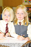 Fossa twins Rossa and Meave Bellew get colouring during their first day in Fossa National school on Monday.   Copyright Kerry's Eye 2008