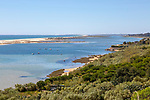 Coastal wooded landscape of pristine beaches and lagoon behind offshore sandbar, Cacela Velha, Vila Real de Santo António, Algarve, Portugal, Southern Europe - Ria Formosa Natural Park