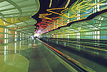Moving walkway at Chicago-O'Hare International Airport, Illinois, USA