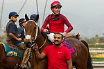 ARCADIA, CA  JANUARY 06: #8 Itsinthepost, ridden by Tyler Baze, return to the connections after winning the San Gabriel Stakes (Grade ll) on January 6, 2018, at Santa Anita Park in Arcadia, CA.(Photo by Casey Phillips/ Eclipse Sportswire/ Getty Images)