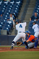 Tampa Tarpons David Metzgar (4) at bat during a Florida State League game against the St. Lucie Mets on April 10, 2019 at George M. Steinbrenner Field in Tampa, Florida.  St. Lucie defeated Tampa 4-3.  (Mike Janes/Four Seam Images)
