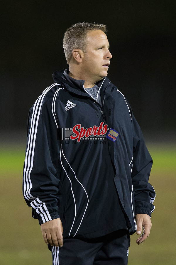 Northwest Cabarrus Trojans head coach Harald von Klahr prior to the start of the match against the Cox Mill Chargers at Cox Mill High School on November 4, 2015 in Concord, North Carolina.  The Chargers defeated the Trojans 6-1 in the first round of the 2015 NCSHAA 3A playoffs.  (Brian Westerholt/Sports On Film)