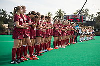 Stanford, CA -- November 13, 2019. Stanford Women's Field Hockey team defeats Miami (Ohio) 3-1 at Varsity Field Hockey Turf in the opening round of the NCAA Championship.