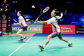 18th March 2018, Arena Birmingham, Birmingham, England; Yonex All England Open Badminton Championships; Yuta Watanabe (JPN) and Arisa Higashino (JPN) in the mixed doubles final against Zheng Siwei (CHN) and Huang Yaqiong (CHN)
