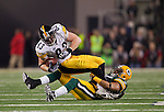 Green Bay Packers linebacker Desmond Bishop (55) tackles Pittsburgh Steelers tight end Heath Miller (83) during Super Bowl XLV on Sunday, February 6, 2011, in Arlington, Texas. The Packers won 31-25. (AP Photo/David Stluka)