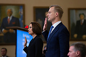 Former National Security Council Russia expert Fiona Hill and Counselor for Political Affairs at the U.S. Embassy in Ukraine David Holmes are sworn in for testimony before the U.S. House Permanent Select Committee on Intelligence on Capitol Hill in Washington D.C., U.S., on Thursday, November 21, 2019.<br /> <br /> Credit: Stefani Reynolds / CNP