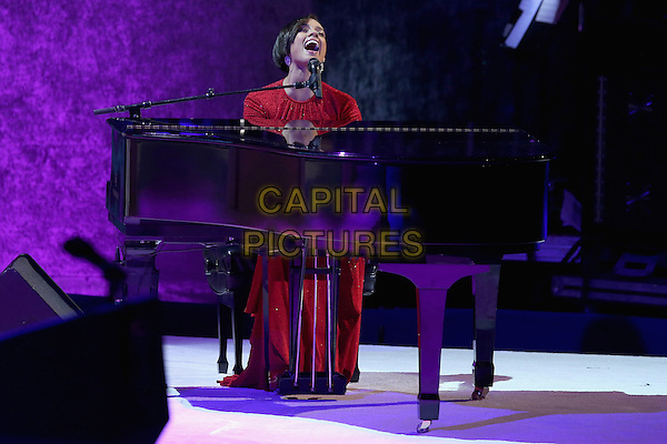 Alicia Keys.2013 Inauguration Ball, Washinton D.C., USA..January 21st, 2013.on stage in concert live gig performance performing music full length red dress piano singing .CAP/ADM/CNP/CS.©Chip Somodevilla/CNP/AdMedia/Capital Pictures