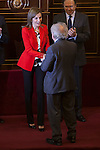 Queen Letizia of Spain awards scientist Eduardo Punset during the Rare Diseases World Day Event organized by FEDER in Madrid, Spain. March 05, 2015. (ALTERPHOTOS/Victor Blanco)
