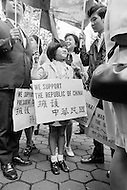 21 Sep 1971 --- An Asian girl supporting the Republic of China outside the 26th U.N. Assembly, in New York. --- Image by © JP Laffont