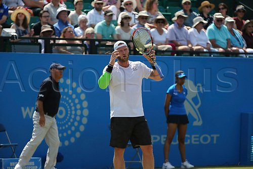 June 17th 2017, Nottingham, England; ATP Aegon Nottingham Open Tennis Tournament day 6;  Sam Groth of Australia shows more disappointment after a shot in the semi final where he lost to Thomas Fabbiano of Italy