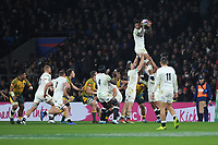 Courtney Lawes of England wins the lineout during the Quilter International match between England and Australia at Twickenham Stadium on Saturday 24th November 2018 (Photo by Rob Munro/Stewart Communications)