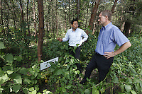 Minister of the Environment and International Development, Erik Solheim, during a visit to Khao Lak, north of Phuket. The area was severley hit by the Tsunami that struck Asia 26/12/2004.The area has since been rebuilt, and tourists have returned.  Trees has been planted to commemorate those who lost their lives..©Fredrik Naumann/Felix Features.