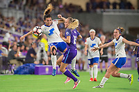 Orlando, FL - Saturday June 03, 2017: Brooke Elby, Rachel Hill during a regular season National Women's Soccer League (NWSL) match between the Orlando Pride and the Boston Breakers at Orlando City Stadium.