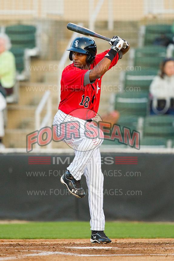 Ruben Sierra Jr. (18) of the Kannapolis Intimidators at bat against the Rome Braves at CMC-Northeast Stadium on April 25, 2013 in Kannapolis, North Carolina.   (Brian Westerholt/Four Seam Images)