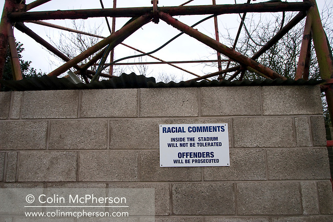 A sign warning spectators about their behaviour at the Blue Square North fixture between hosts Workington AFC (red) and Boston United at Borough Park. The visitors won with a solitary sixth-minute goal by Jon Rowan in front of 388 spectators. Both Workington AFC and Boston United were members of the Football League, the Cumbrians losing League status in 1977 while the Lincolnshire club were relegated in 2007 and demoted two divisions for financial irregularities..