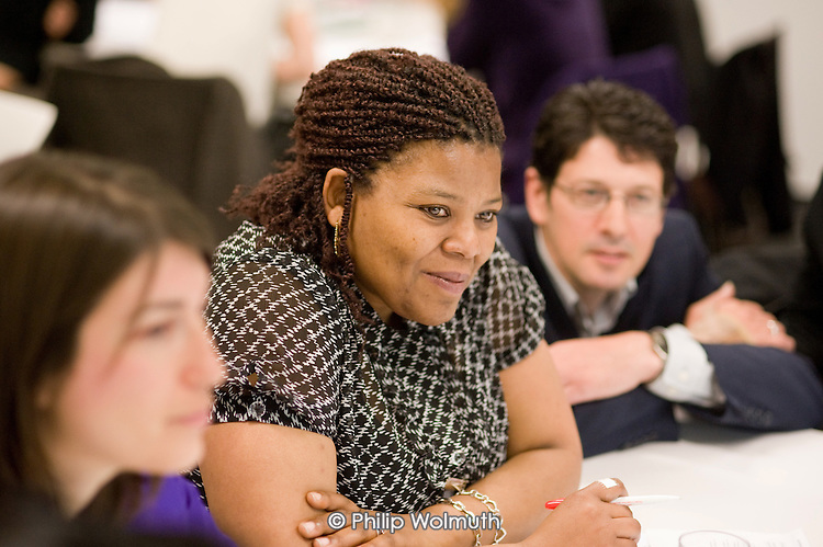 Angela Singhate, Chair of Queen's Park Forum, at a workshop session, Paddington Community Conference, organised by Paddington Development Trust (PDT) at Westminster Academy.