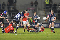Sale Sharks Bryn Evans passes the ball to Sale Sharks Ross Harrison during the European Rugby Champions Cup match between Sale Sharks and Saracens at AJ Bell Stadium, Salford, England on 18 December 2016. Photo by Paul Bell.