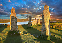 Outer row of stones, 27 metres long at sunset,  leading to the central stone circle, circa 2900BC. Calanais Neolithic Standing Stone (Tursachan Chalanais) , Isle of Lewis, Outer Hebrides, Scotland.