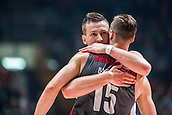 9th February 2018, Aleksandar Nikolic Hall, Belgrade, Serbia; Euroleague Basketball, Crvenz Zvezda mts Belgrade versus AX Armani Exchange Olimpia Milan; Center Alan Omic of Crvena Zvezda mts Belgrade hugs Center Kaleb Tarczewski of AX Armani Exchange Olimpia Milan after the match