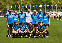 Kansas City, MO - Saturday May 13, 2017: FC Kansas City  starting 11-Nicole Barnhart,Brittany Taylor,Becky Sauerbrunn,Yael Averbuch,Christina Gibbons, Lo'eau Labonta , Becca Moros, Alexa Newfield,Shea Groom, Brittany Ratcliffe, Sydney Leroux, during a regular season National Women's Soccer League (NWSL) match between FC Kansas City and the Portland Thorns FC at Children's Mercy Victory Field.