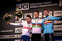 podium:<br /> Mathieu van der Poel (NED) retains the rainbow jersey yet another year. . <br /> <br /> 2nd place: Tom Pidcock (GBR)<br /> 3th place: Toon Aerts (BEL)<br /> <br /> Men's Elite race<br /> UCI 2020 Cyclocross World Championships<br /> Dübendorf / Switzerland<br /> <br /> ©kramon