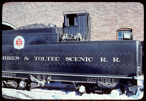 Side view of K-36 #487 tender in Chama.<br /> C&amp;TS  Chama, NM  prior to 2/1978