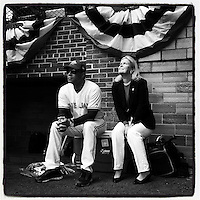 COOPERSTOWN, NY - MAY 24:  Instagram of Roberto Alomar and Jane Forbes Clark on the field watching the home run derby before the Hall of Fame Classic game at Doubleday Field on May 24, 2014 in Cooperstown, New York. Photo by Brad Mangin