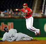 22 August 2009: Washington Nationals' infielder Ronnie Belliard gets an out at second but is unable to turn the double play against the Milwaukee Brewers at Nationals Park in Washington, DC. The Nationals fell to the Brewers 11-9 in the second game of their four-game series. Mandatory Credit: Ed Wolfstein Photo