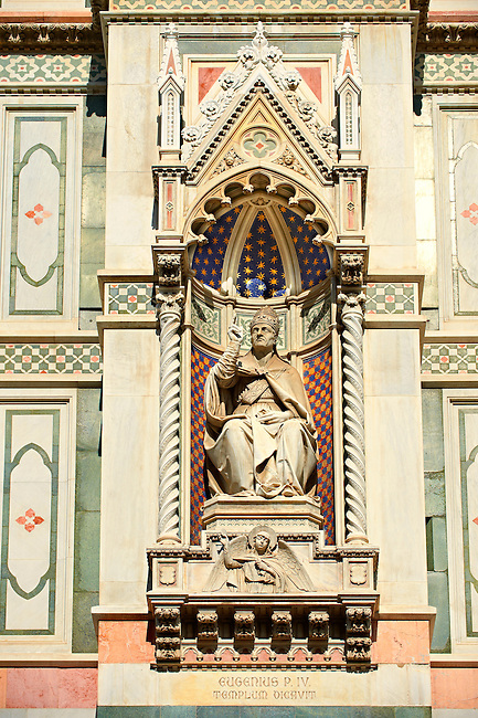 Statue of Pope Eugene IV (1383 - 25 February 1447), born Gabriele Condulmer, was pope from 3 March 1431 until his death on the facade of  the Gothic-Renaissance Duomo of Florence,  Basilica of Saint Mary of the Flower; Firenza ( Basilica di Santa Maria del Fiore ).  Built between 1293 & 1436. Italy