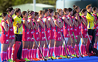 The Japan team lines up for the women's match between Japan and USA at the 2017 Hawkes Bay Cup tournament at Hawkes Bay Sports Park in Hastings, New Zealand on Thursday, 6 April 2017. Photo: Dave Lintott / lintottphoto.co.nz