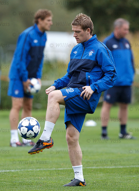 Steven Davis blasts the ball at training as his hamstring appears to be ok