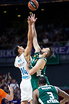 Real Madrid Gustavo Ayon and Panathinaikos Ian Vougioukas during Turkish Airlines Euroleague Quarter Finals 4th match between Real Madrid and Panathinaikos at Wizink Center in Madrid, Spain. April 27, 2018. (ALTERPHOTOS/Borja B.Hojas)