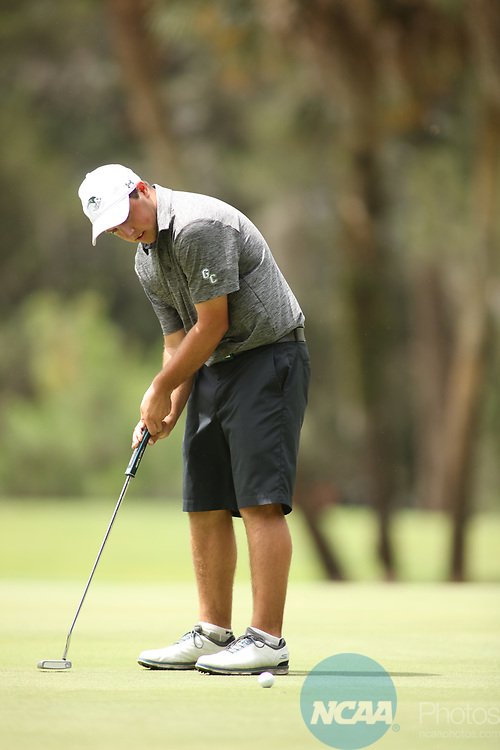 HOWEY IN THE HILLS, FL - MAY 19: Grant Powell of Greensboro College putts during the Division III Men's Golf Championship held at the Mission Inn Resort and Club on May 19, 2017 in Howey In The Hills, Florida. (Photo by Cy Cyr/NCAA Photos via Getty Images)