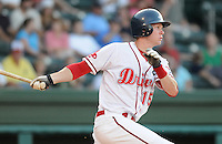 July 29, 2009: Outfielder Jeremy Hazelbaker (15) of the Greenville Drive, Class A affiliate of the Boston Red Sox, in a game at Fluor Field at the West End in Greenville, S.C. Photo by: Tom Priddy/Four Seam Images