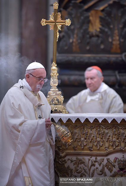 Pope Francis Cardinal Pietro Parolin;during Episcopal Ordinations  the new Bishops Waldemar Stanislaw Sommertag, Alfred Xuareb, Jose' Avelino Bettencourt  ceremony in St. Peter's Basilica at the Vatican,  on March 19, 2018