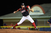 Batavia Muckdogs pitcher Chuck Weaver (38) delivers a pitch during a game against the State College Spikes August 22, 2015 at Dwyer Stadium in Batavia, New York.  State College defeated Batavia 5-3.  (Mike Janes/Four Seam Images)
