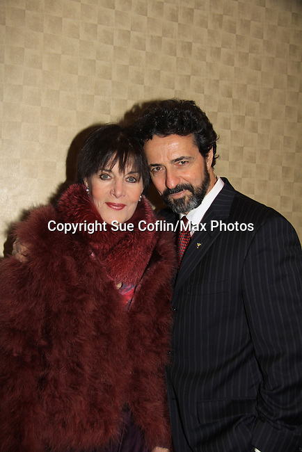 Another World's Linda Dano (and all three ABC shows) poses with fellow castmate Stephen Schnetzer (also ATWT) on March 21, 2013 at the HeartShare 25th Annual Spring Gala and Auction at the New York Marriott, NYC, NY.  (Photo by Sue Coflin/Max Photos)