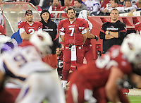Dec 6, 2009; Glendale, AZ, USA; Arizona Cardinals quarterback (7) Matt Leinart on the sidelines against the Minnesota Vikings at University of Phoenix Stadium. The Cardinals defeated the Vikings 30-17. Mandatory Credit: Mark J. Rebilas-