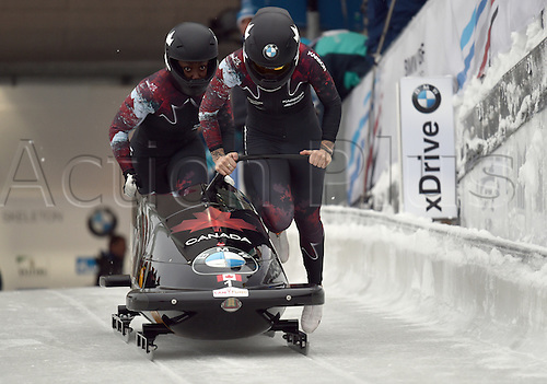 13.01.2017. Winterberg, Germany.  Canadian bobsleighers Kaillie Humphries (R) and Cynthia Appiah in action at the Bobsleighing World Cup in Winterberg, Germany, 13 January 2017.