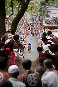 A horse that got over the mound at the annual Shinto Tado Horse Festival.
