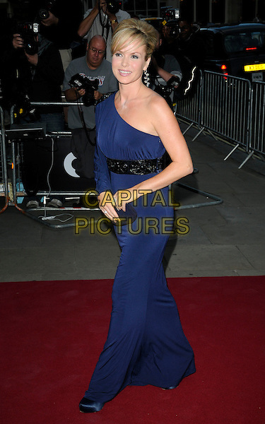 AMANDA HOLDEN .At the GQ Men of The Year Awards held at The Royal Opera House, Covent Garden, London, England, UK, September 7th 2010..full length blue one sleeve long maxi dress clutch bag black waistband shoes walking .CAP/CAN.©Can Nguyen/Capital Pictures.