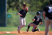 Plymouth State Panthers second baseman Nate Frederick (33) catches a throw as Jonathan Roehler (9) slides in during the second game of a doubleheader against the Edgewood Eagles on March 17, 2016 at Lee County Player Development Complex in Fort Myers, Florida.  Plymouth State defeated Edgewood 16-3.  (Mike Janes/Four Seam Images)