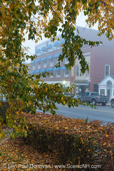Main Street (Route 1) in downtown Camden, Maine USA on a foggy autumn morning.