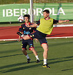 MADRID (24/05/09).- The Spanish Soccer national team has officially begun their hunt for the championship, arriving in the Madrid municipality of Las Rozas to begin preparing for South Africa World Cup.  Xabi Alonso and David Silva...PHOTO: Cesar Cebolla / ALFAQUI