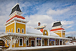 Conway Scenic Railroad depot in North Conway, White Mountains region, NH, USA