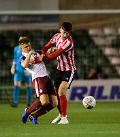 South Shieldsy U18's Sam Hodgson is fouled by Lincoln City U18's Ellis Chapman<br /> <br /> Photographer Chris Vaughan/CameraSport<br /> <br /> The FA Youth Cup Second Round - Lincoln City U18 v South Shields U18 - Tuesday 13th November 2018 - Sincil Bank - Lincoln<br />  <br /> World Copyright © 2018 CameraSport. All rights reserved. 43 Linden Ave. Countesthorpe. Leicester. England. LE8 5PG - Tel: +44 (0) 116 277 4147 - admin@camerasport.com - www.camerasport.com