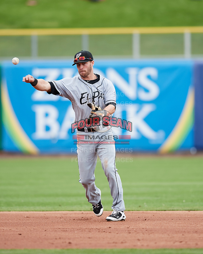 Dusty Coleman (15) of the El Paso Chihuahuas during the game against the Salt Lake Bees in Pacific Coast League action at Smith's Ballpark on April 30, 2017 in Salt Lake City, Utah. El Paso defeated Salt Lake 12-3. This was Game 2 of a double-header originally scheduled on April 28, 2017. (Stephen Smith/Four Seam Images)